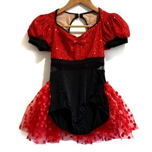 Weissman Dance Costume Red/Black Size LC